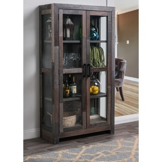 Kosas Home Oscar Charcoal Recovered Shipping Pallets Handcrafted 2-door Curio Cabinet