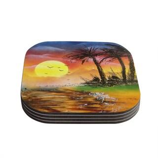 Infinite Spray Art 'Maui Sunrise' Beach Coasters (Set of 4)