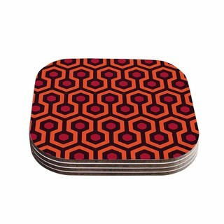 Alias 'The Overlook' Orange Abstract Coasters (Set of 4)