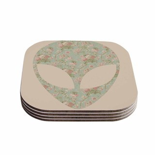Alias 'Floral Alien' Pink Teal Coasters (Set of 4)
