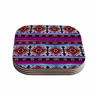 S Seema Z 'SINDHI AJRAK' Purple Pattern Coasters (Set of 4)