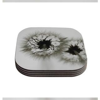 Skye Zambrana 'Wishes' Gray Flower Coasters (Set of 4)