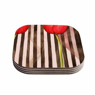 S Seema Z 'Classic rose' Red Stripes Coasters (Set of 4)