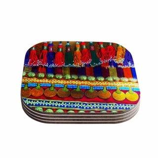 S Seema Z 'BOHO MANIA' Multicolor Ethnic Coasters (Set of 4)