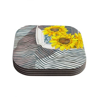 S. Seema Z 'Finall Sunflower' Yellow Flower Coasters (Set of 4)