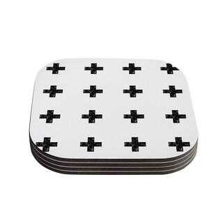 Skye Zambrana 'Swiss Cross White' Simple Light Coasters (Set of 4)