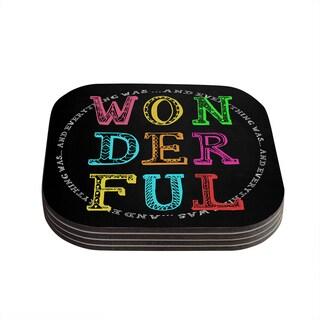 Skye Zambrana 'Wonderful' Rainbow Text Coasters (Set of 4)