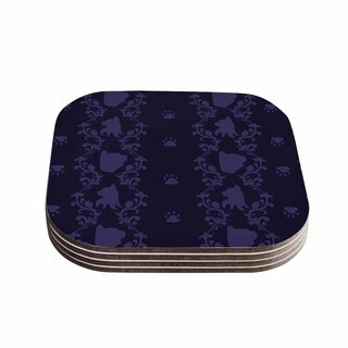 Stephanie Vaeth 'Cat Damask' Purple Pattern Coasters (Set of 4)