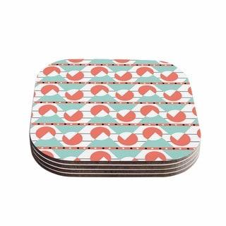 Stephanie Vaeth 'Geometric' Teal Coral Coasters (Set of 4)
