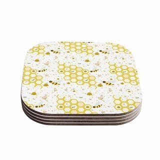 Stephanie Vaeth 'Honey Bees' White Yellow Coasters (Set of 4)