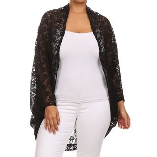 MOA Collection Women's Plus-size Floral Lace Cardigan