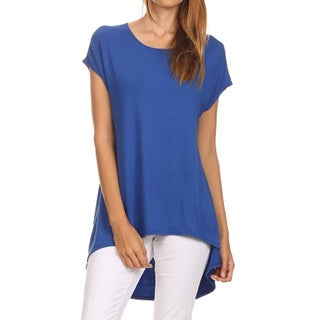 MOA Collection Women's Solid-Color Hi-Lo Scoop-Neck Blouse