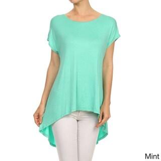 MOA Collection Women's Solid-Color Hi-Lo Scoop-Neck Blouse
