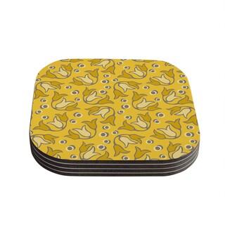 Suzie Tremel 'Tulip Toss' Yellow Petals Coasters (Set of 4)