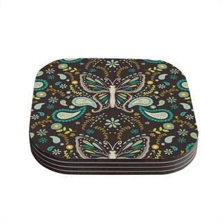 Suzie Tremel 'Butterfly Garden' Brown Teal Coasters (Set of 4)