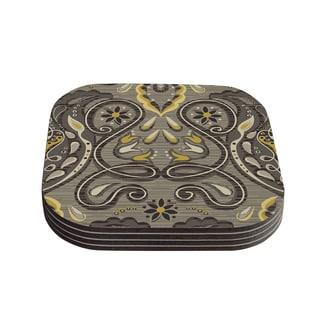 Suzie Tremel 'Vintage Damask' Brown Gold Coasters (Set of 4)
