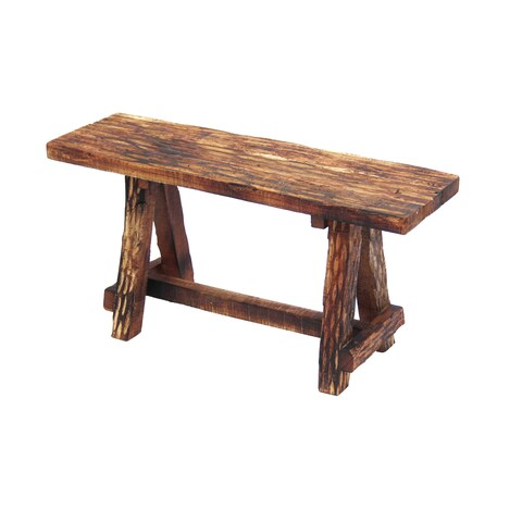 The Urban Port Wooden Garden Patio Bench With Retro Etching, Cappuccino Brown