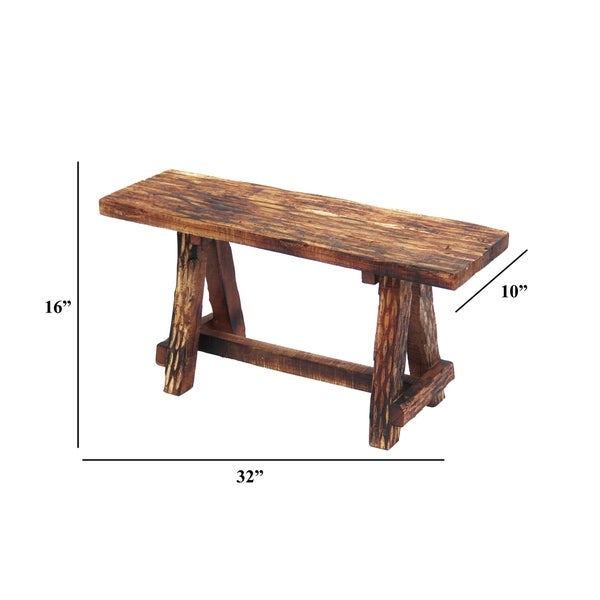 Wooden Garden Patio Bench With Retro Etching, Cappuccino Brown
