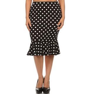 MOA Collection Women's Plus Size Polka Dot Mermaid Skirt
