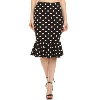 MOA Collection Women's Black and White Polyester/Spandex Polka Dot Mermaid Skirt