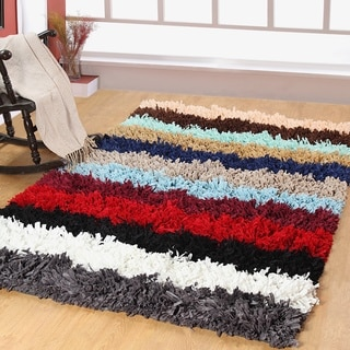 Affinity Home Collection Multicolored Cotton-blended Striped Shag Area Rug (5' x 8')