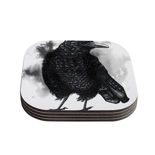 Sophy Tuttle 'Crow' Black White Coasters (Set of 4)