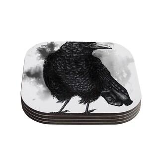 Sophy Tuttle 'Crow' Black White Coasters (Set of 4)