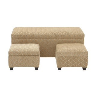 Wood and Beige Fabric Storage Bench Set