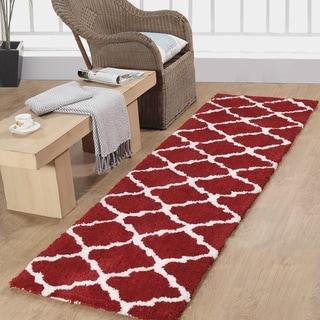 Casa Platino Soft Cozy Ultimate Shag Red Rug (2'3 x 8')