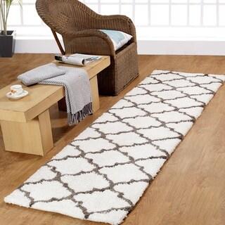 Casa Platino Soft Cozy Ultimate Shag White Rug (2'3 x 8')