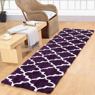 Casa Platino Purple Polypropylene/Cotton Soft Cozy Ultimate Shag Rug (2'3 x 8')
