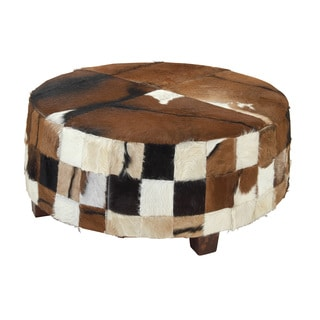 39-inch Wood and Cow Hide Large Ottoman
