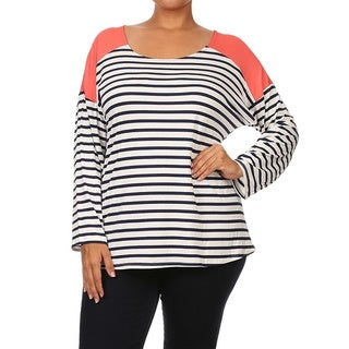 MOA Collection Women's Plus-size Striped Shirt