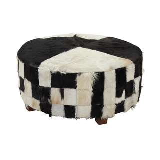 39-inch Wood Hide Large Ottoman