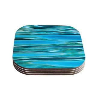 Susan Sanders 'Blue Water' Teal Coasters (Set of 4)
