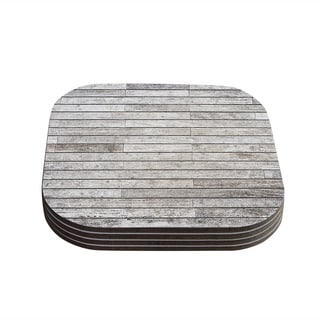 Susan Sanders 'Wooden Walk' White Gray Coasters (Set of 4)