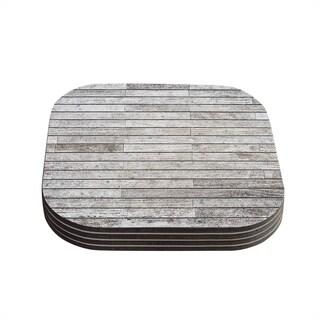 Susan Sanders 'Wooden Walk' White Gray Coasters (Set of 4)