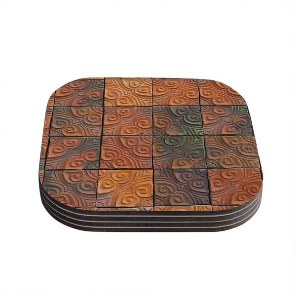 Susan Sanders 'Whimsy Tile' Orange Rustic Coasters (Set of 4)