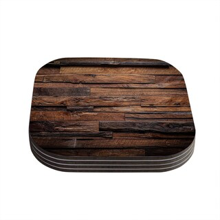 Susan Sanders 'Espresso Dreams' Rustic Wood Coasters (Set of 4)
