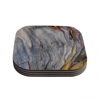 Susan Sanders 'Milky Wood' Gray Brown Coasters (Set of 4)