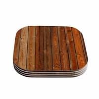 Susan Sanders 'Rustic Wood Wall' Nature Brown Coasters (Set of 4)