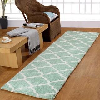 Casa Platino Soft Cozy Ultimate Aqua Shag Rug (2'3 x 8')