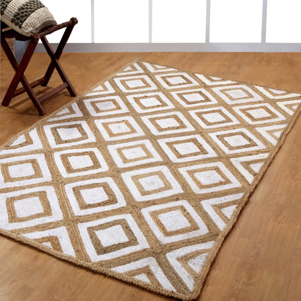 Hand-woven Braided Natural Fiber Jute and Cotton Area Rug - 8' x 10'