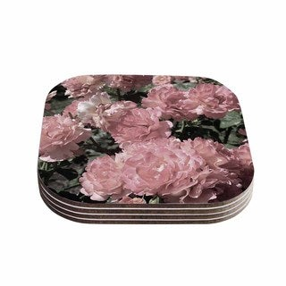Susan Sanders 'Blush Pink Flowers' Floral Photography Coasters (Set of 4)
