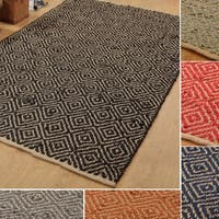 Hand-woven Natural/Dyed Jute Rug (5' x 8') - 5' x 8'