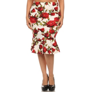 MOA Collection Women's Plus Size Floral Mermaid Style Skirt
