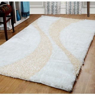 Affinity Bela White / Cream Silken Shag Rug (5'x8')