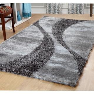 Affinity Silken Bela Silver/Grey Polyester Shag Rug (5' x 8')