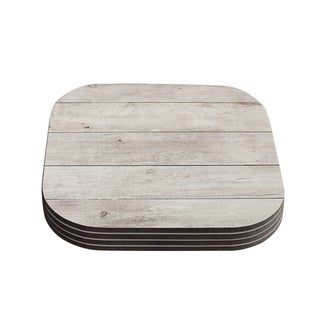 Susan Sanders 'White Wash Wood' Beige White Coasters (Set of 4)