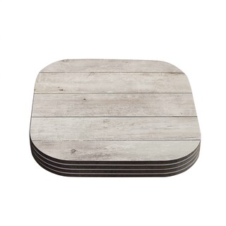 Susan Sanders 'White Wash Wood' Beige White Coasters (Set of 4)
